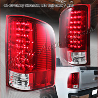 For 2007-2014 Chevy Silverado 1500 2500 3500 LED Red/Clear Lens Rear Tail Lights