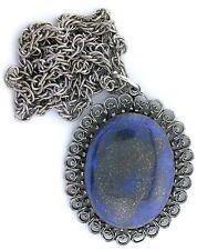 40x30 40mm x 30mm Lapis Cabochon Gemstone Antiqued Silver Color Pendant Chain