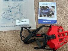 "New listing ""Barkless"" Silicone Basket Dog Muzzle Size 3 Adjustable Red & Black color"