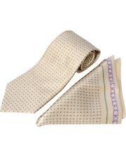 ZILLI - 100% Silk Tie & Pocket Square Set, Beige/Green Pattern 4334V25 MSRP $350