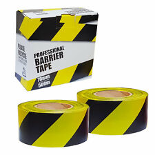 2 Roll Safety Hazard Warning Barrier Tape Non Adhesive Yellow Black 70mm x 500m
