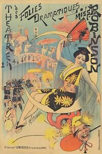 Original Vintage Affiche Choubrac Folies Dramatique Miss Robinson Theatre 1892