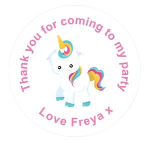 45mm Round Unicorn Birthday Sweet Cone Stickers. Sets of 24, 48 & 72