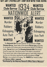 BONNIE AND CLYDE~POSTERS WANTED BARROW PARKER BONNIE CLYDE BANK ROB FBDI CRIME