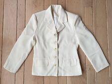 Women's Handmade Ivory Long Sleeve Notch Lapel Supreme Suit Jacket Blazer S M L