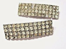 VINTAGE MUSI DRESS SHOE CLIPS SPARKLY RHINESTONE PAIR ACCESSORY 1980S