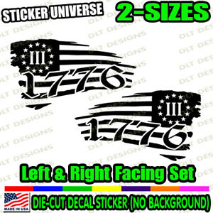 1776 LEFT & RIGHT Set Distressed Flag Window Decal Bumper Sticker 228