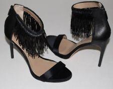 "BCBGMAXAZRIA 7.5.M Black Leather Satin Sandals Bead Fringe Ankle Strap 4.2"" Heel"