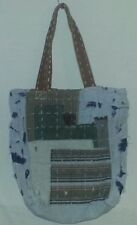 NEW ANTHROPOLOGIE ARTISAN DE LUXE DENIM PATCH BAG TOTE GREEN PATCH PATCHWORK