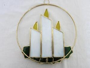 """BEAUTIFUL HAND MADE LG. 9"""" SUNCATCHER STAINED GLASS HIGH QUALITY XMAS CANDLES"""