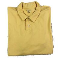 Lands End Super T Men's Polo Shirt Short Sleeve 50-52 Yellow Cotton Size XXL