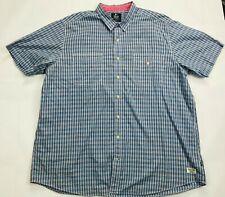 Mens Nautica Jeans Co Short Sleeve Button Up Shirt SIZE 3XB Blue/Orange/White