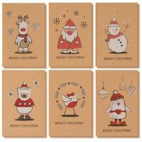 36 Kraft Merry Christmas Cards Box Set with Yuletide Character Illustrations