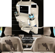 Car Seat Back Bag Leather Organizer Storage Pocket Cup iPad Phone Holder Beige