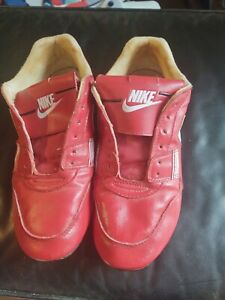 Vintage Nike 80s Red Leather Baseball Cleats - Worn Good Condition - 900608-PA