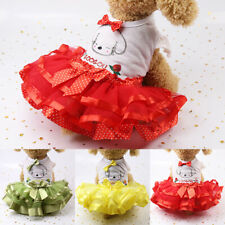 Summer Cute Pet Dog Lace Dress Bow Clothes Small Cat Puppy Wedding Skirt Apparel