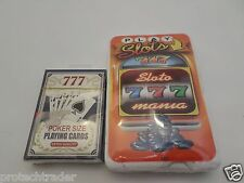 2 Piece Gambler LOT NIP Poker Size Playing Cards with Medium Sloto Mania T Shirt