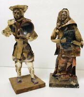 Vtg Mexican Folk Art Figurines Paper Mache Lot Of 2 Vintage Old Man & Lady & Pig