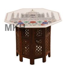 ajmahal Coffee Table White Marble Vintage Stone Inlay End Table Top Pietra Dura