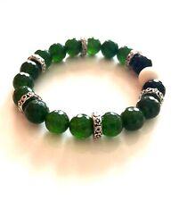 Handmade Faceted Green Jade Gemstone Beaded Stretch Bracelet Vintage Spacers