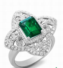 Genuine Natural Green Emerald Engagement VVS Diamonds Ring Solid 18K White Gold