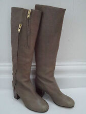 NEW ACNE JEANS taupe leather knee high boots with zipper details Italian size 39