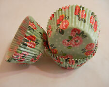 50 red botanical floral green cupcake liners baking paper cup muffin case