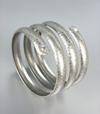 UNIQUE Basketball Wives Antique Silver Iridescent AB CZ Crystals Wrap Bracelet