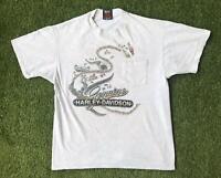 1995 Vintage HARLEY DAVIDSON T Shirt Mens Large Grey   Single Stitch Hanes Beefy