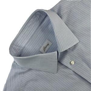 Mint! 17.5 Brioni Light Blue Multi Stripe 100 %  Cotton Dress Shirt