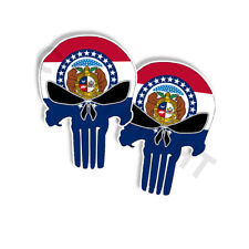 """Punisher Stickers Missouri State Flag Skull Decals - 5"""" tall 2-pack"""