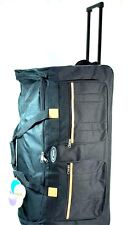 "Black 30"" Large Wheeled Rolling Duffle with Retractable Handle Travel Gym Bag"