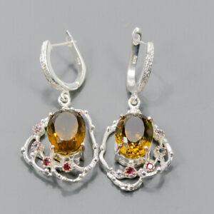 Jewelry Fine Art Unique Citrine Quartz Earrings Silver 925 Sterling   /E52949