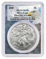 2020 1oz Silver Eagle PCGS MS70 First Day Issue - Eagle Frame