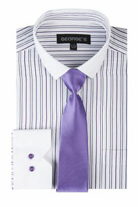 Men's Contrast Colored Striped Dress Shirt with slim Tie By George's SG41