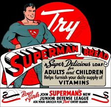 1941 Superman Bread Die Cut Store Counter Standup Sign Jr Defense League Wwii