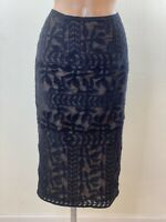 MONSOON Black Lace Look Skirt Lined Size 12 Sexy Party Formal