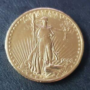 1908 GOLD USA $20 ST. GAUDENS DOUBLE EAGLE NO MOTTO COIN