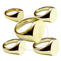 NEW 9ct Solid Yellow Gold Oval Signet Rings 375 UK Hallmarked Family Crest Rings