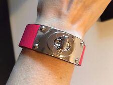 NEW Coach Pink Leather Silver Turn Lock  Bracelet