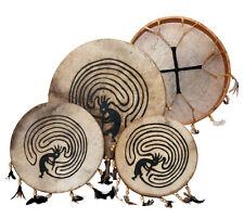 "Shaman drum painted 12"" with goat skin, Frame Drum, handmade"
