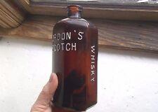 RARE AMBER GORDON'S SCOTCH WHISKEY EMB WOLF HEAD 100 YR OLD DRY GIN LOOKALIKE