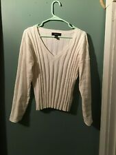 Forever 21 Plus White Ribbed Stretchy Sweater V Neck Size 1X