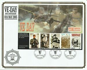 NEVIS 16 MAY 2005 60th ANN VE DAY MINIATURE SHEET BENHAM O/S FIRST DAY COVER