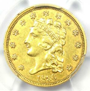 1836 Classic Gold Quarter Eagle $2.50 - Certified PCGS XF Details - Rare Coin!