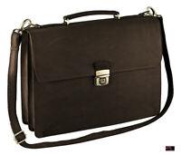 Aktentasche Leder Vintage Rindleder dunkelbraun (espresso) excl. Marke EuroStyle