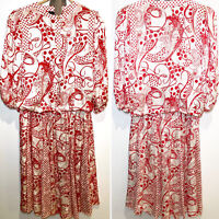 Diane Freis Vintage 80's Silk Georgette 2 Piece Blouse Skirt Stunning Size L