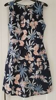 Womens Mela Loves London summer dress navy floral fitted with belt size 12 vgc.