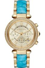 *NEW* MICHAEL KORS LADIES WATCH MK6364 PARKER GOLD TONE, BLUE ACETATE STRAP