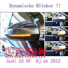 2x Audi A3 S3 RS3 8V Laufblinker Schwarz Dynamic Seitenlicht LED Spiegelblinker